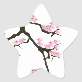 pink sakura and birds, tony fernandes star sticker