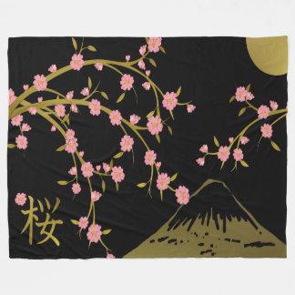 Pink Sakura Gold Black Japanese Screen Fleece Blanket