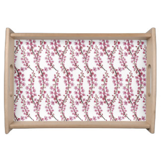 Pink sakura watercolor pattern serving tray