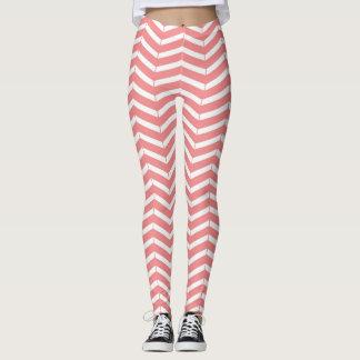 Pink Salmon & White Chevron Pattern Leggings