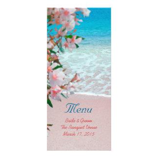 Pink Sand Beach Wedding Menu Rack Card