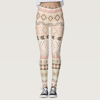 Pink Sand Beige Tribal Aztec Stripe Legging