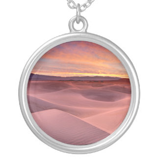 Pink sand dunes, Death Valley, CA Silver Plated Necklace