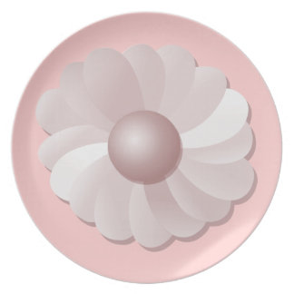 Pink Sand Flower Party Plate