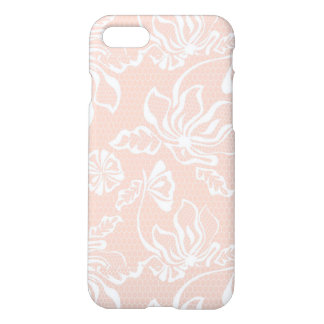 Pink Sand Lace Overlay Pattern with Netting Mesh iPhone 7 Case