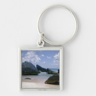 Pink Sand Silver-Colored Square Key Ring