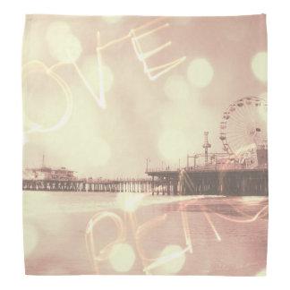 Pink Santa Monica Pier Love Peace Kerchief
