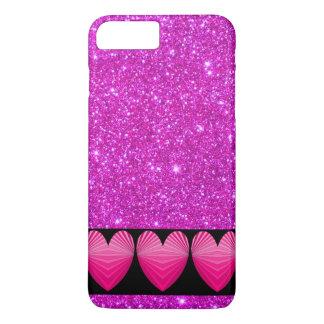 Pink Sarpkly Sparkle Heart Glitter iPhone Case