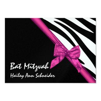 Pink Satin and Stripes Bat Mitzvah Card