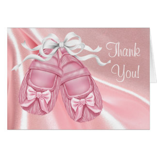Pink Satin Booties Baby Girl Thank You Cards