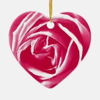Pink satin rose print christmas tree ornaments