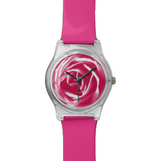 Pink satin rose print watches