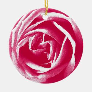 Pink satin rose print round ceramic decoration