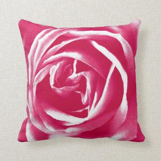 Pink satin rose print throw cushion