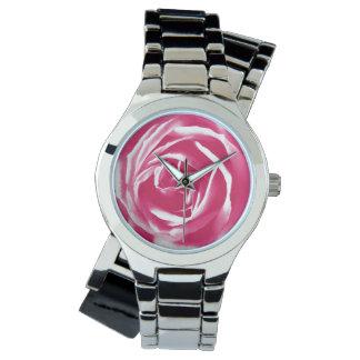 Pink satin rose print wrist watches