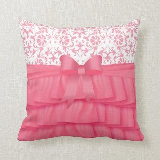 Pink Satin Ruffles & Pink Bow on Damask Throw Pillow