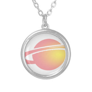 Pink Saturn Silver Plated Necklace