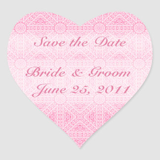 Pink Save the Date Heart Envelope Seal Heart Sticker