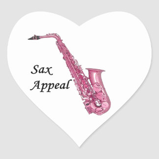 Pink Sax Heart Sticker