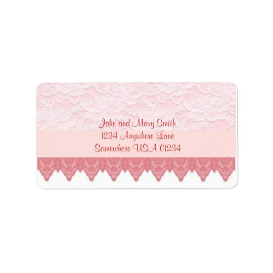Pink Scallop and Lace 2 Address Label