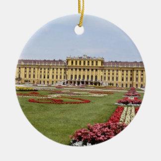 Pink Schonbrunn Castle, Vienna, Austria flowers Ceramic Ornament