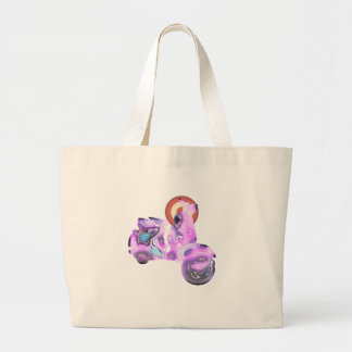 pink scooter large tote bag