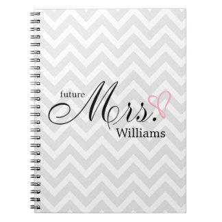 Pink Scribbled Heart Future Mrs Wedding Planner Notebook