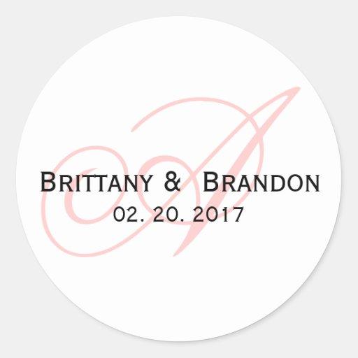 Pink Script Monogram Wedding Favor Round Sticker