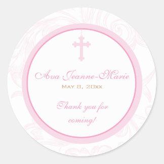 Pink Scroll Cross Address Label/Favor Sticker