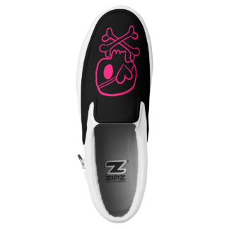 Pink Scull and Crossbones Heart Emo Pirate Girls Slip On Shoes