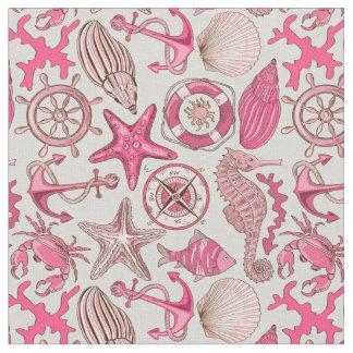 Pink Sea Pattern Fabric