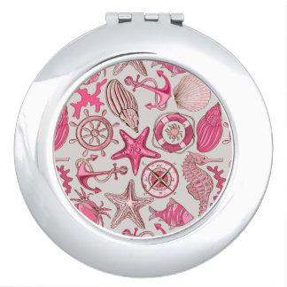 Pink Sea Pattern Travel Mirrors