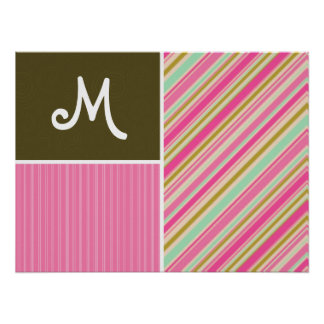 Pink & Seafoam Gren Stripes; Striped Posters