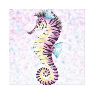 pink seahorse canvas print