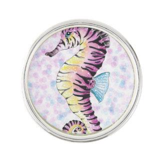 pink seahorse lapel pin