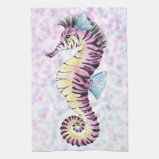 pink seahorse tea towel