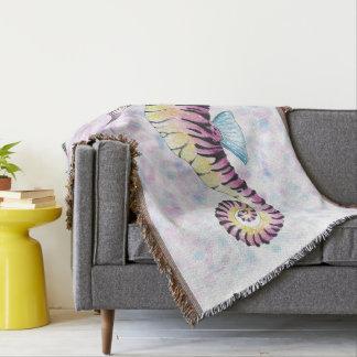 pink seahorse throw blanket