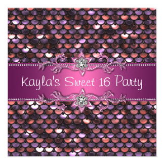 Pink Sequin Jewel Hot Pink Sweet 16 Party Personalized Invitation