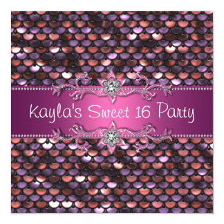 "Pink Sequin Jewel Hot Pink Sweet 16 Party 5.25"" Square Invitation Card"