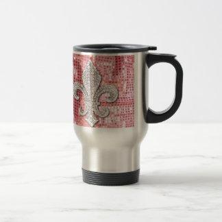 Pink Sequin Sparkle Jewel Fleur De Lis Vintage Travel Mug