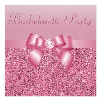 Pink Sequins Bow Diamond Bachelorette Party Custom Announcements