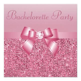Pink Sequins, Bow & Diamond Bachelorette Party 13 Cm X 13 Cm Square Invitation Card