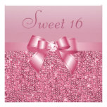 Pink Sequins, Bow & Diamond Sweet 16 Custom Announcement