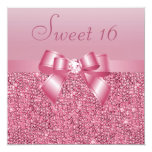 Pink Sequins, Bow & Diamond Sweet 16 Custom Announcements