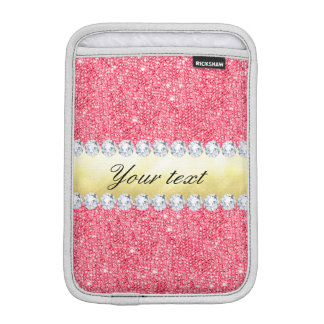 Pink Sequins Gold Foil and Diamonds iPad Mini Sleeves