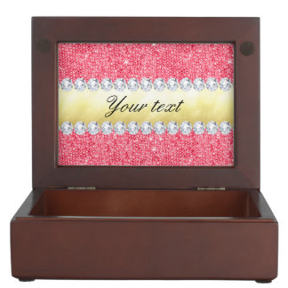 Pink Sequins Gold Foil and Diamonds Keepsake Box