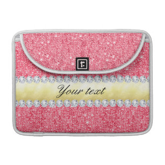 Pink Sequins Gold Foil and Diamonds Sleeves For MacBook Pro