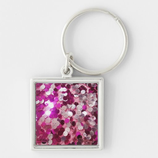 Pink Sequins Sparkles Fashion Customize w/ Text Key Chains