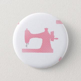 pink sewing machine 6 cm round badge