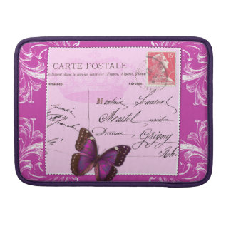 Pink shabby chic French collage postmark stamped Sleeves For MacBook Pro